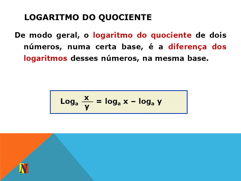 Logaritmo do quociente