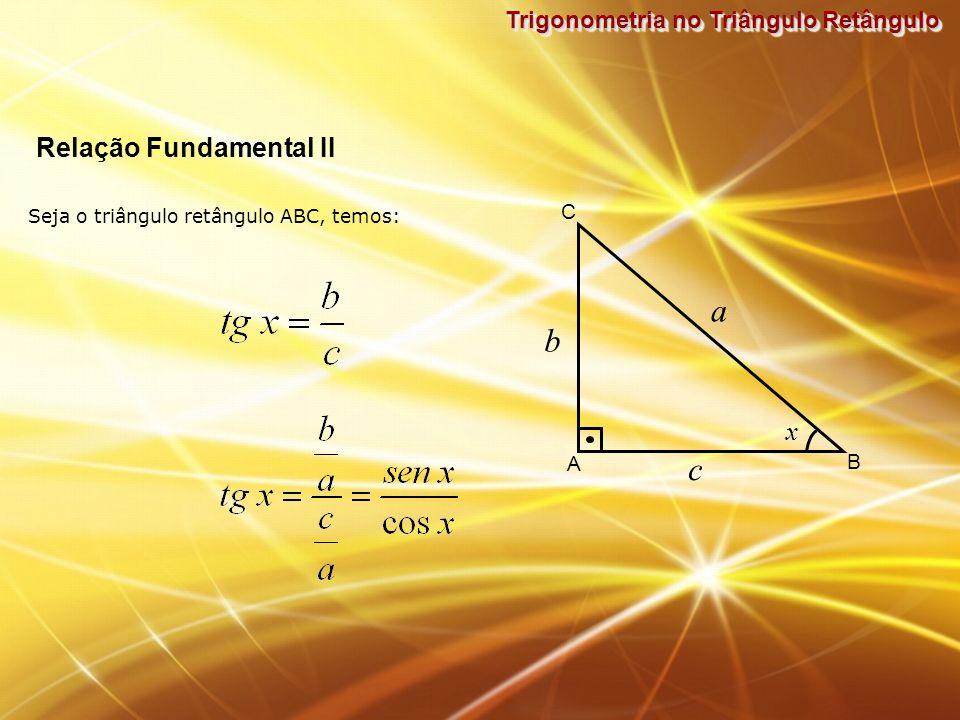 a b c Relação Fundamental II x Trigonometria no Triângulo Retângulo C