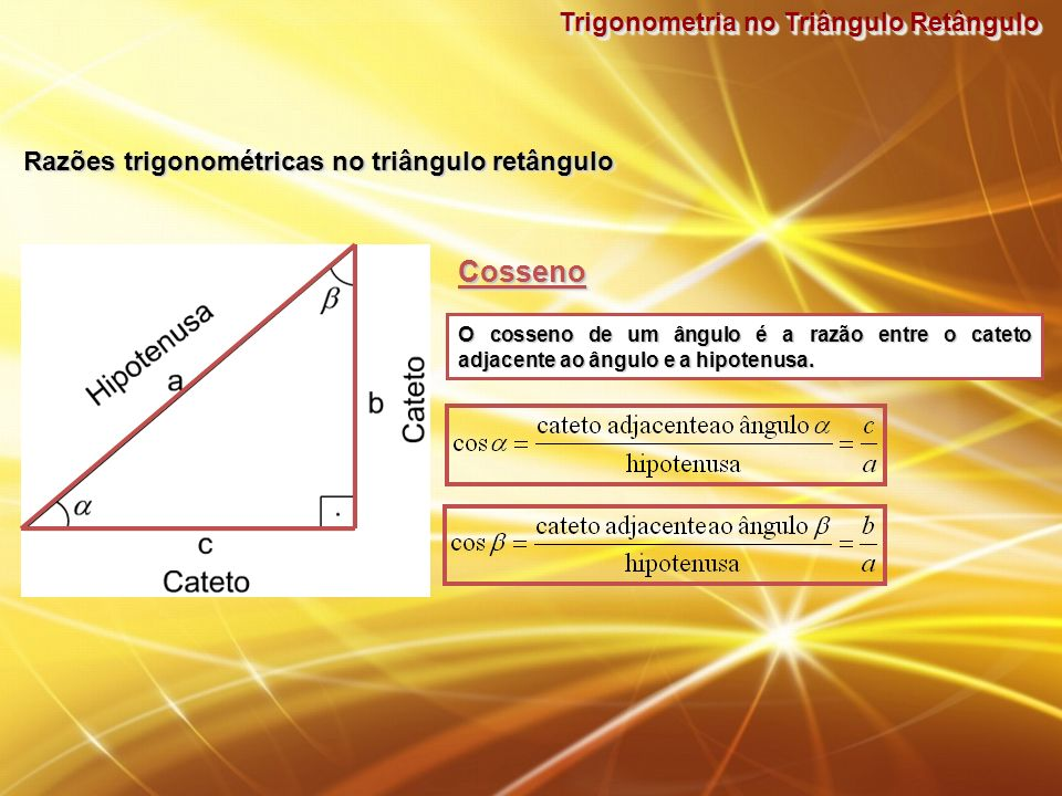 Cosseno Trigonometria no Triângulo Retângulo