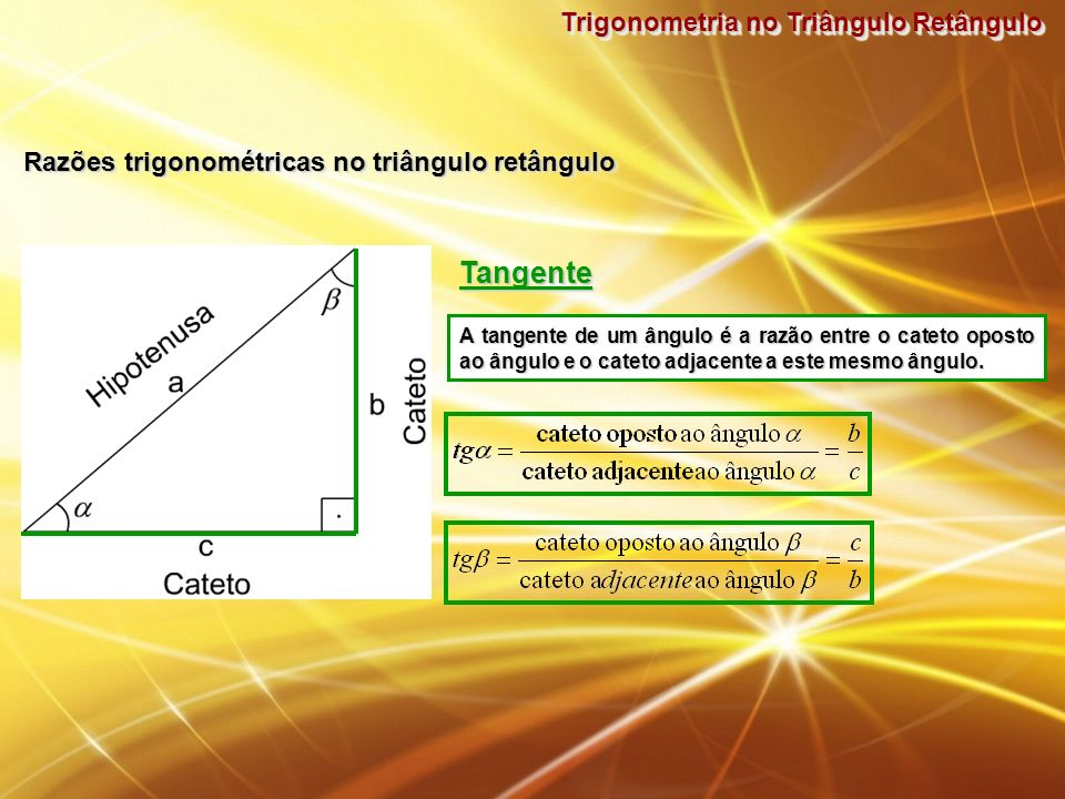 Tangente Trigonometria no Triângulo Retângulo