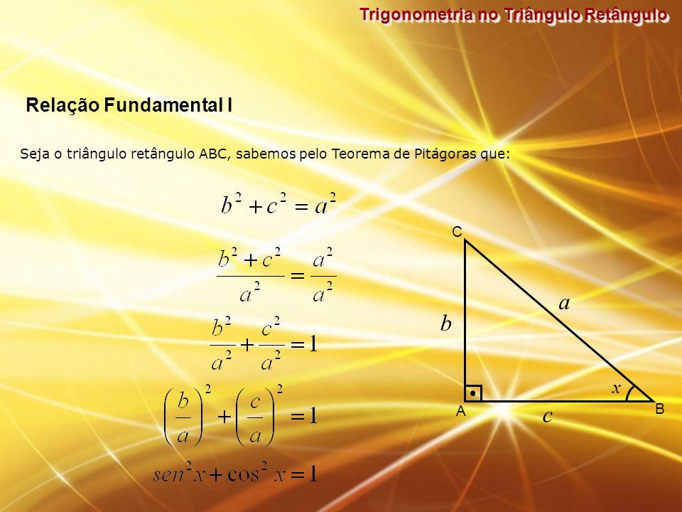 a b c Relação Fundamental I x Trigonometria no Triângulo Retângulo C A