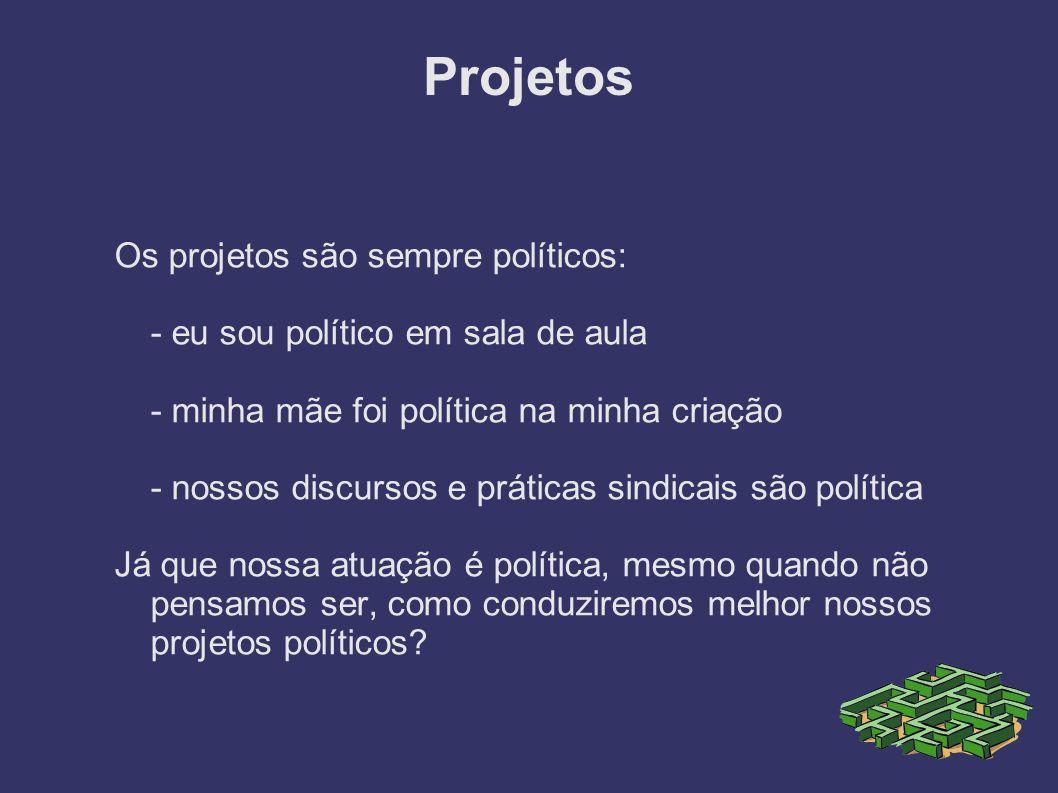 Projetos Os projetos são sempre políticos: