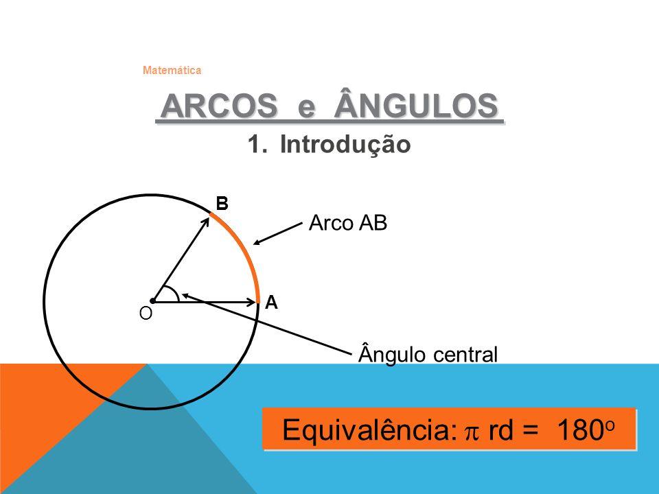 ARCOS e ÂNGULOS Equivalência:  rd = 180o Introdução Arco AB