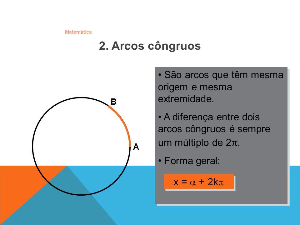 2. Arcos côngruos São arcos que têm mesma origem e mesma extremidade.