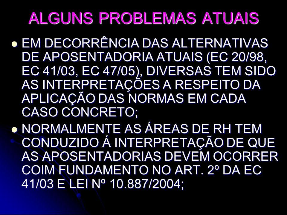 ALGUNS PROBLEMAS ATUAIS