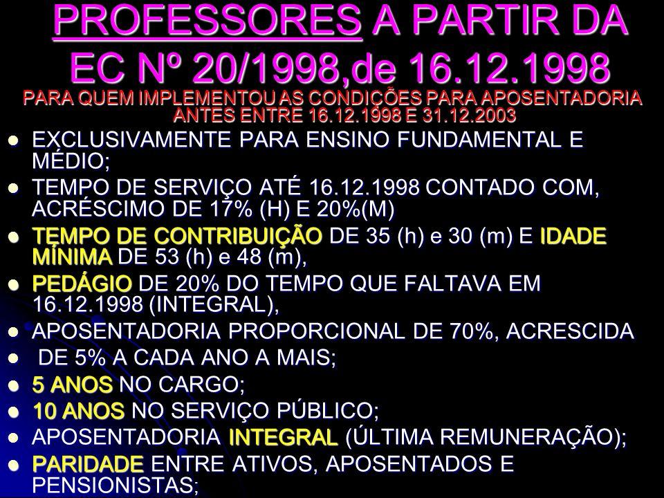 PROFESSORES A PARTIR DA EC Nº 20/1998,de 16.12.1998