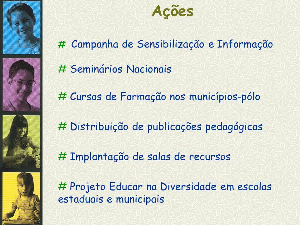 Ações # Seminários Nacionais # Cursos de Formação nos municípios-pólo