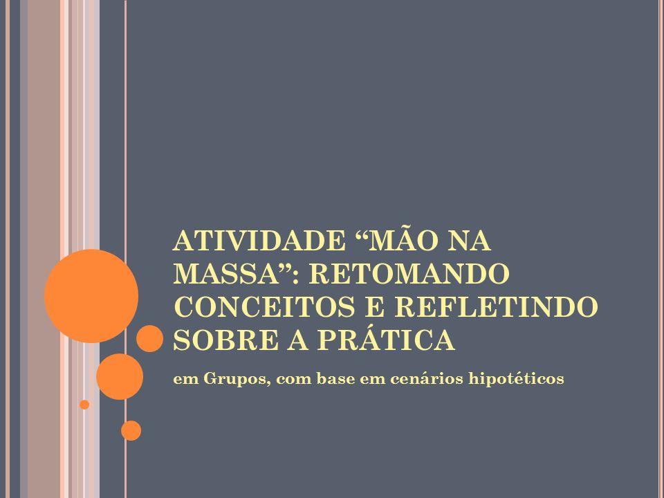ATIVIDADE MÃO NA MASSA : RETOMANDO CONCEITOS E REFLETINDO SOBRE A PRÁTICA