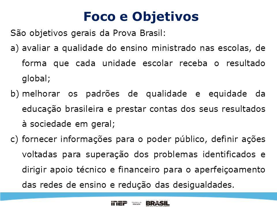 Foco e Objetivos São objetivos gerais da Prova Brasil: