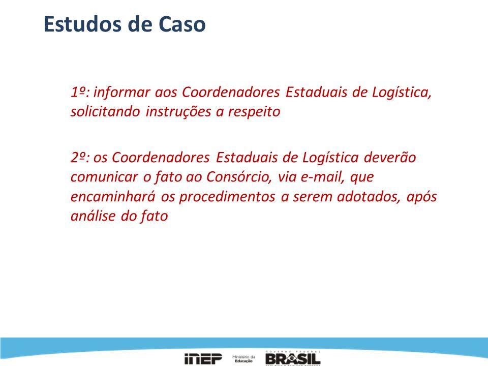 Estudos de Caso 1º: informar aos Coordenadores Estaduais de Logística, solicitando instruções a respeito.