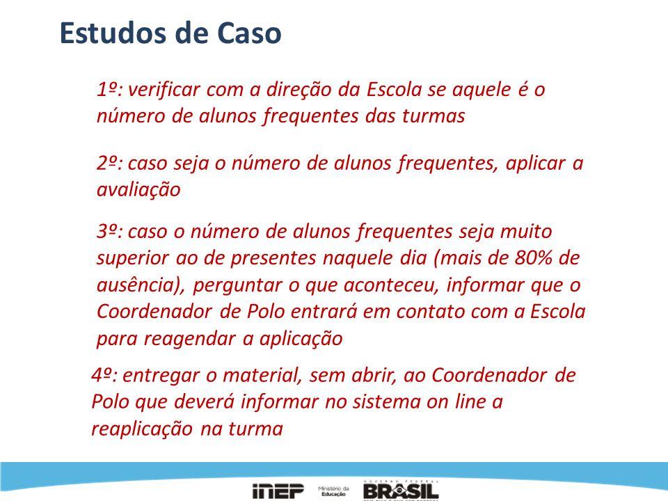 Estudos de Caso1º: verificar com a direção da Escola se aquele é o número de alunos frequentes das turmas.
