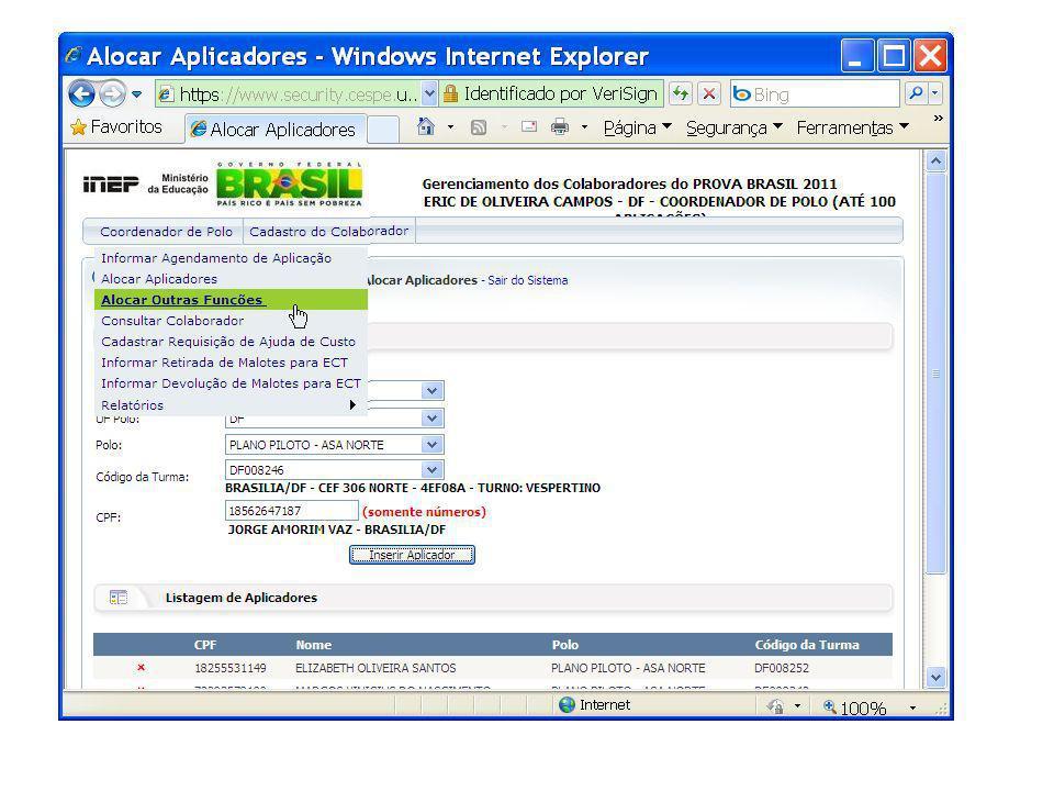 - Selecione a opção Alocar outras funções clicando no menu, como pode ser observado no slide acima.