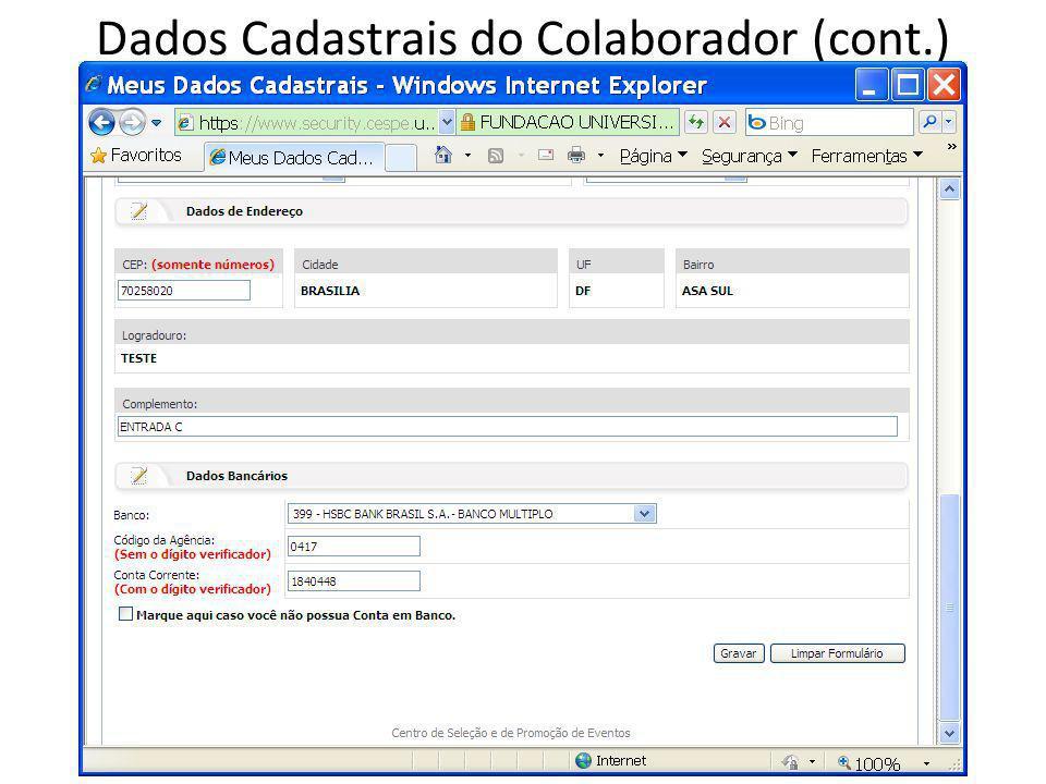 Dados Cadastrais do Colaborador (cont.)