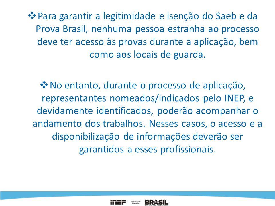 Para garantir a legitimidade e isenção do Saeb e da Prova Brasil, nenhuma pessoa estranha ao processo deve ter acesso às provas durante a aplicação, bem como aos locais de guarda.