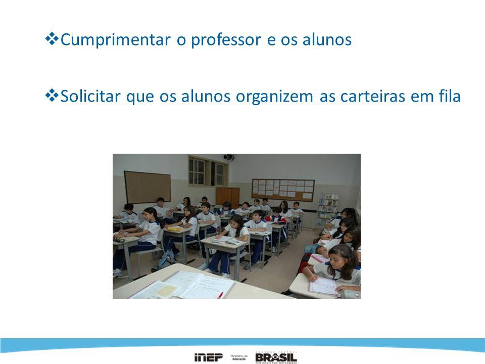 Cumprimentar o professor e os alunos