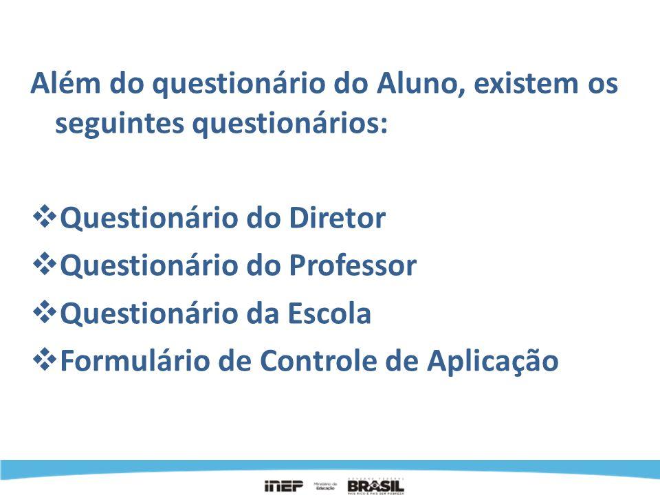 INSTRUMENTOS Além do questionário do Aluno, existem os seguintes questionários: Questionário do Diretor.