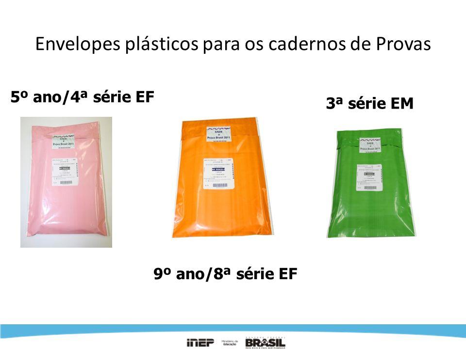 Envelopes plásticos para os cadernos de Provas