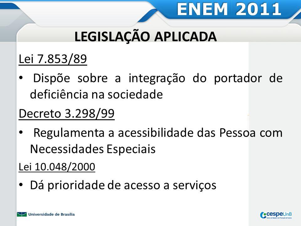 ENEM 2011 LEGISLAÇÃO APLICADA Lei 7.853/89