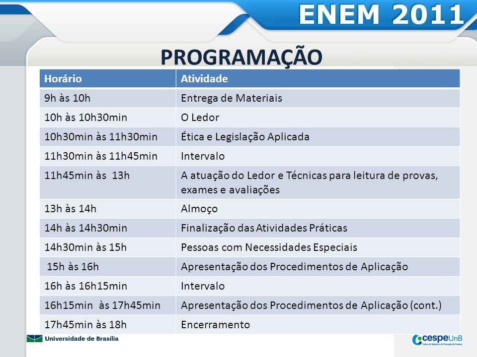 ENEM 2011 PROGRAMAÇÃO Horário Atividade 9h às 10h Entrega de Materiais
