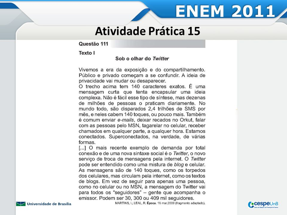 ENEM 2011 Atividade Prática 15
