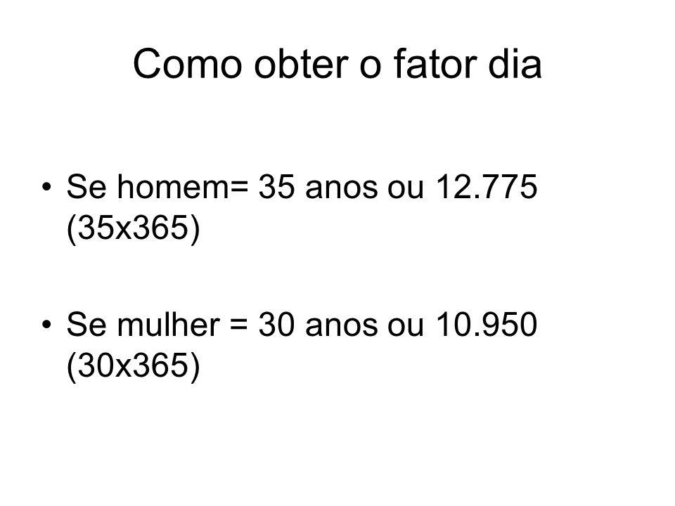 Como obter o fator dia Se homem= 35 anos ou 12.775 (35x365)