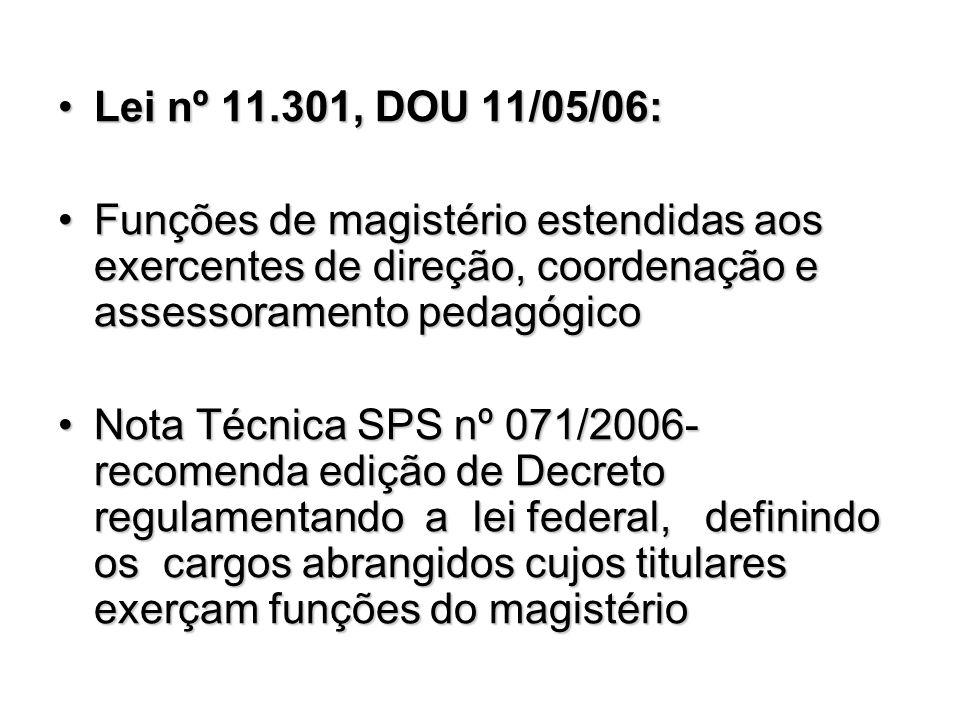Lei nº 11.301, DOU 11/05/06: Funções de magistério estendidas aos exercentes de direção, coordenação e assessoramento pedagógico.