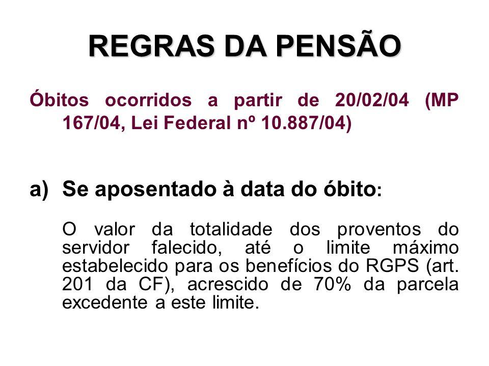 REGRAS DA PENSÃO Se aposentado à data do óbito: