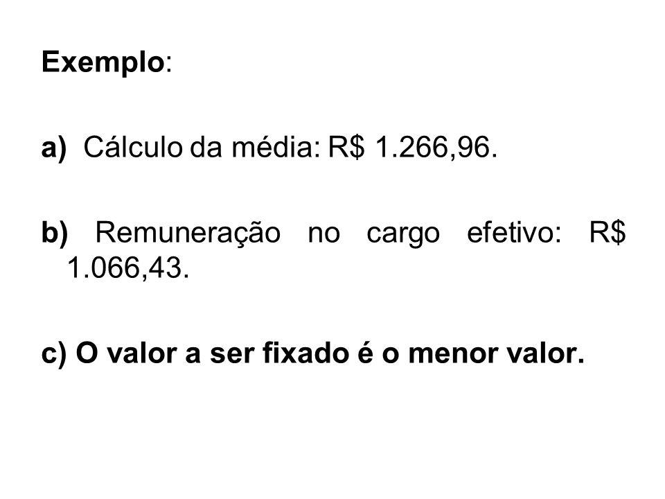 Exemplo: a) Cálculo da média: R$ 1.266,96. b) Remuneração no cargo efetivo: R$ 1.066,43.