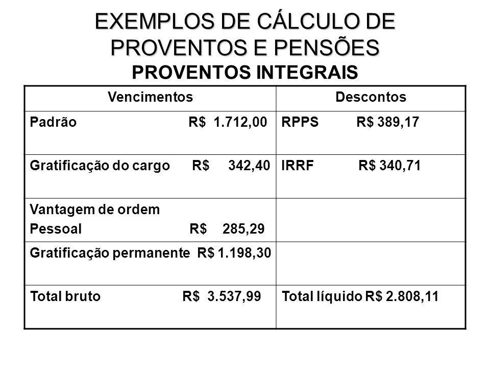 EXEMPLOS DE CÁLCULO DE PROVENTOS E PENSÕES PROVENTOS INTEGRAIS