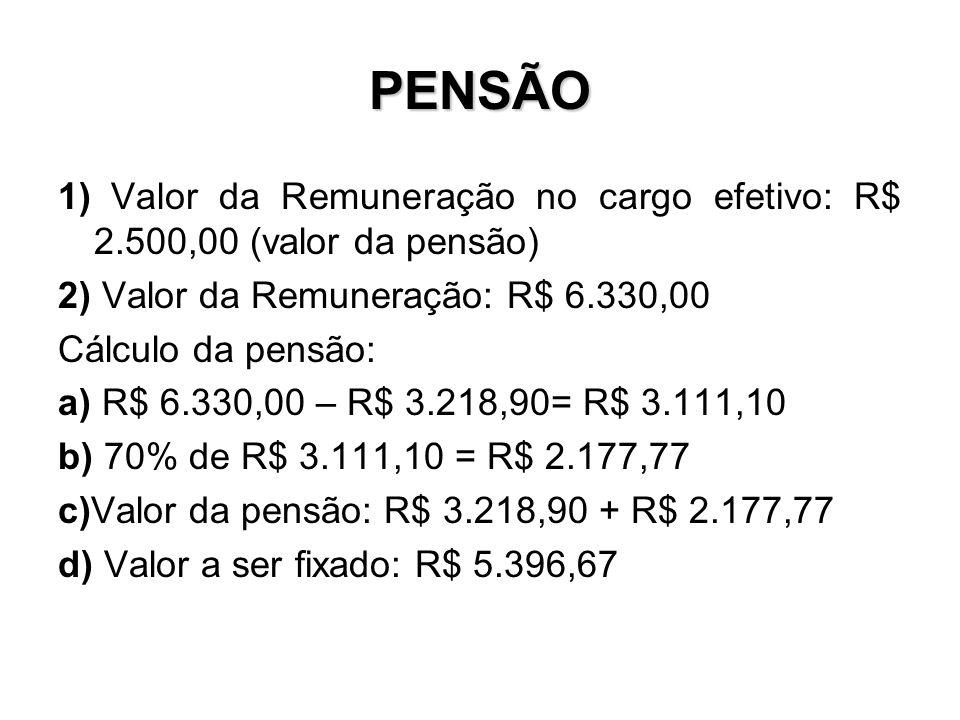 PENSÃO 1) Valor da Remuneração no cargo efetivo: R$ 2.500,00 (valor da pensão) 2) Valor da Remuneração: R$ 6.330,00.