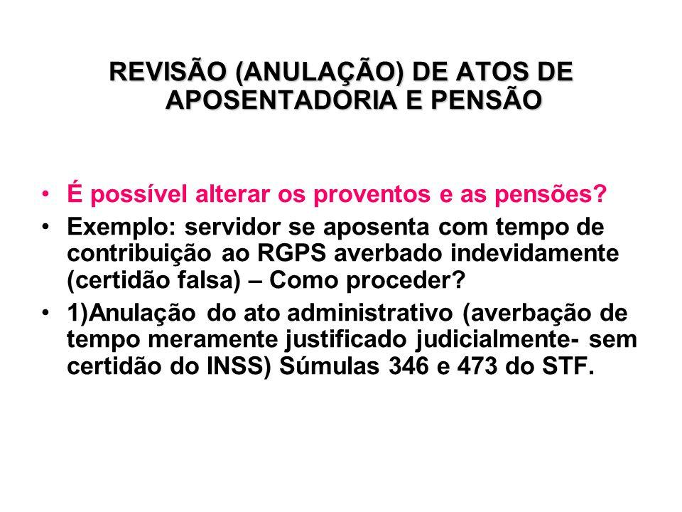 REVISÃO (ANULAÇÃO) DE ATOS DE APOSENTADORIA E PENSÃO