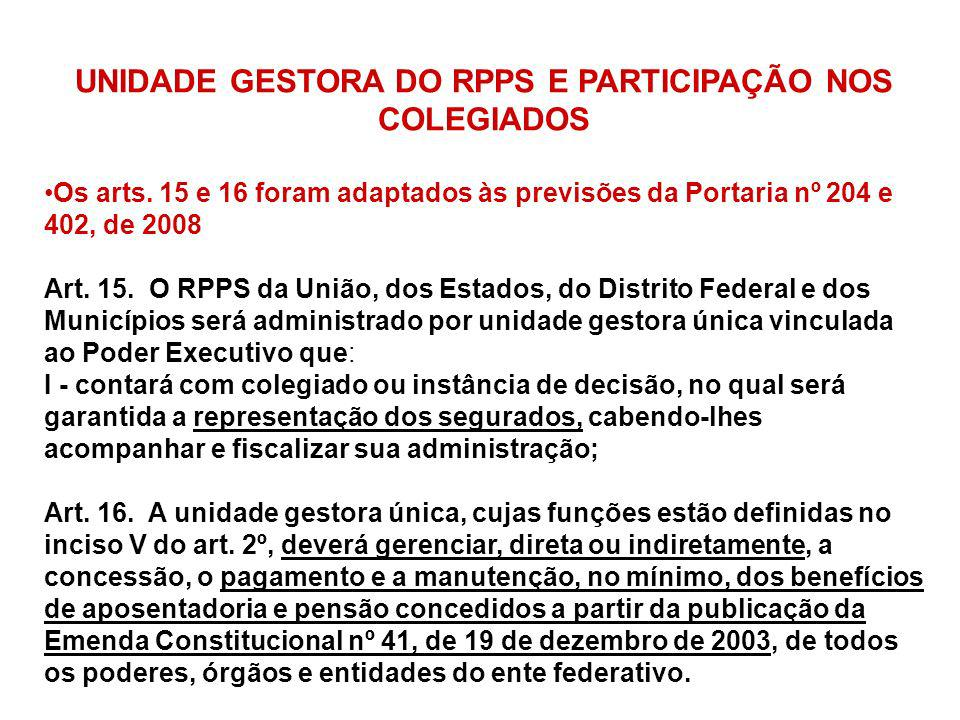 UNIDADE GESTORA DO RPPS E PARTICIPAÇÃO NOS COLEGIADOS