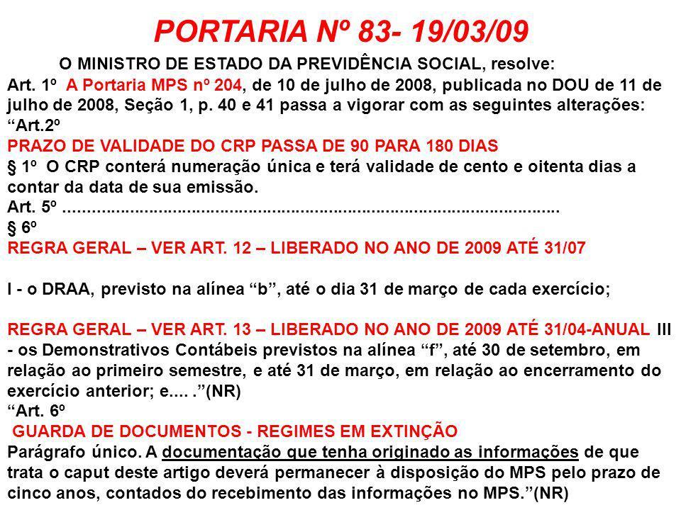 PORTARIA Nº 83- 19/03/09 O MINISTRO DE ESTADO DA PREVIDÊNCIA SOCIAL, resolve: