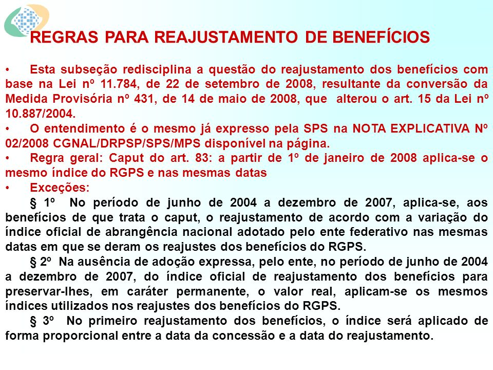 REGRAS PARA REAJUSTAMENTO DE BENEFÍCIOS
