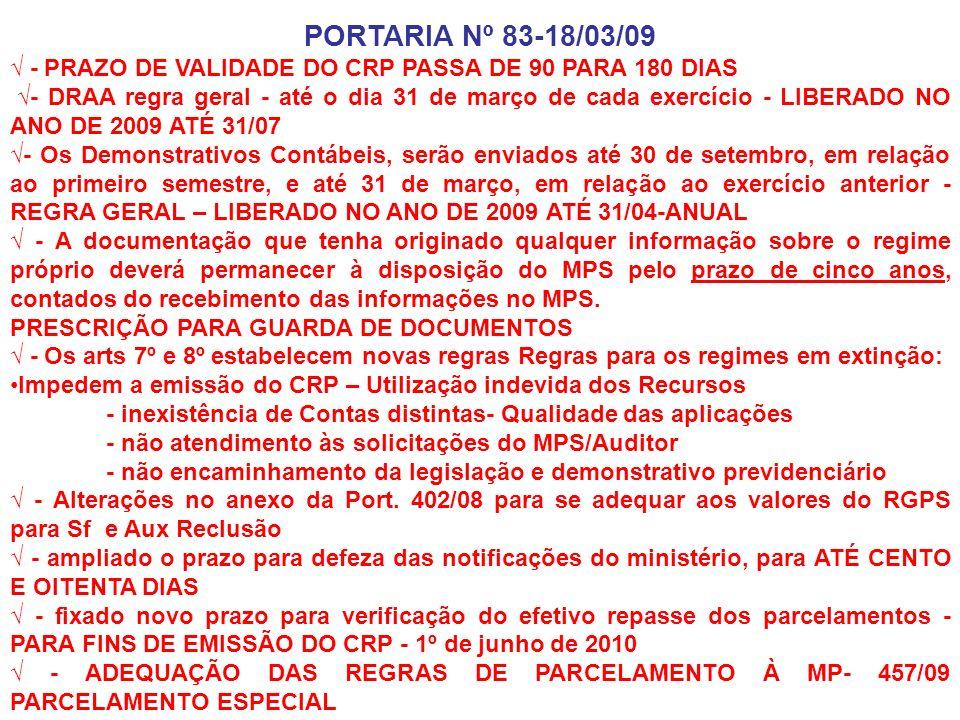PORTARIA Nº 83-18/03/09 √ - PRAZO DE VALIDADE DO CRP PASSA DE 90 PARA 180 DIAS.