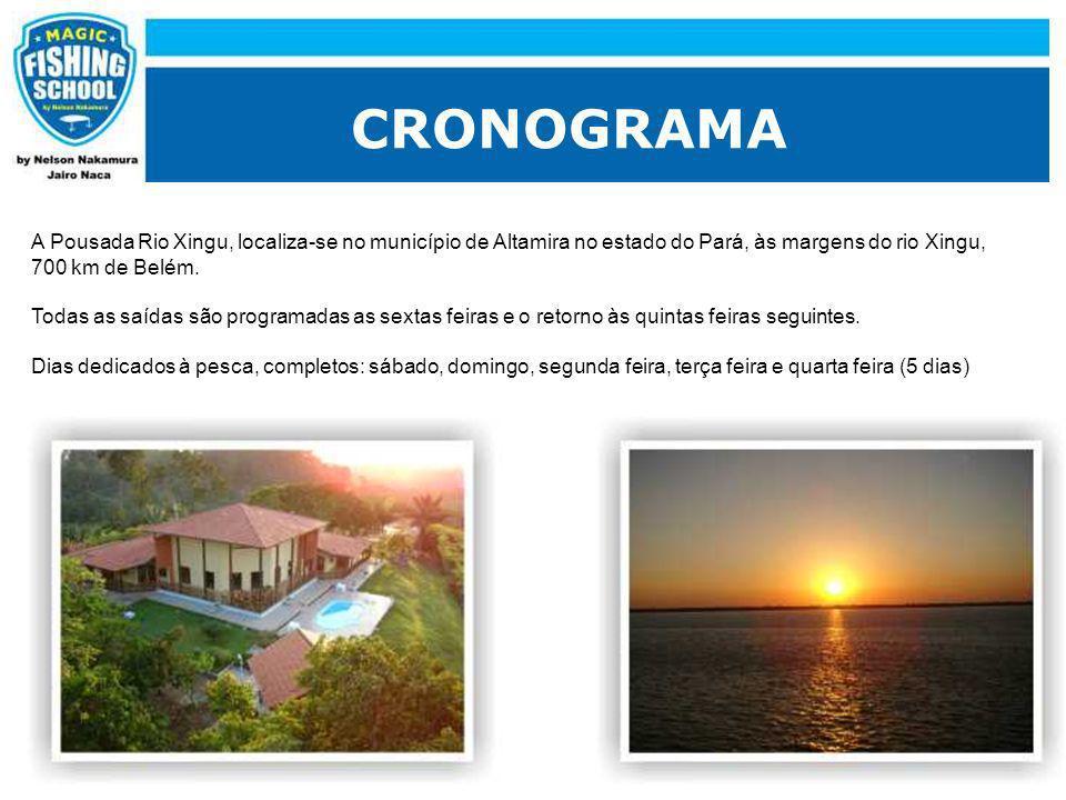 CRONOGRAMA A Pousada Rio Xingu, localiza-se no município de Altamira no estado do Pará, às margens do rio Xingu,