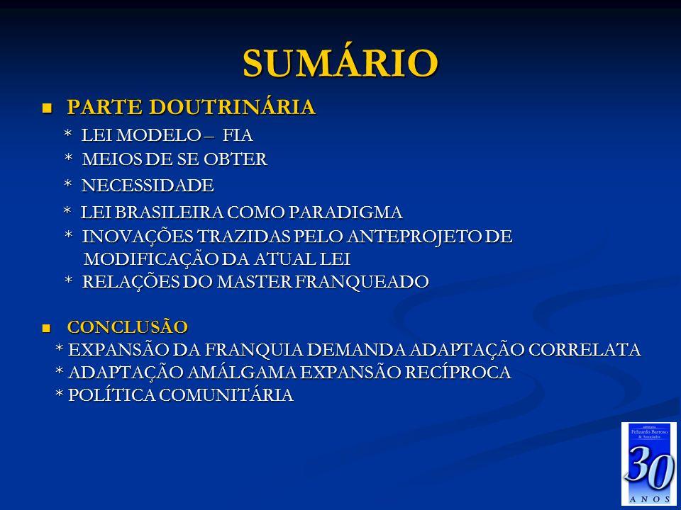 SUMÁRIO PARTE DOUTRINÁRIA * LEI MODELO – FIA * NECESSIDADE