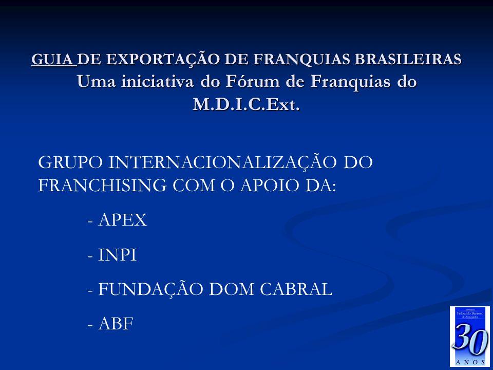 GRUPO INTERNACIONALIZAÇÃO DO FRANCHISING COM O APOIO DA: - APEX - INPI