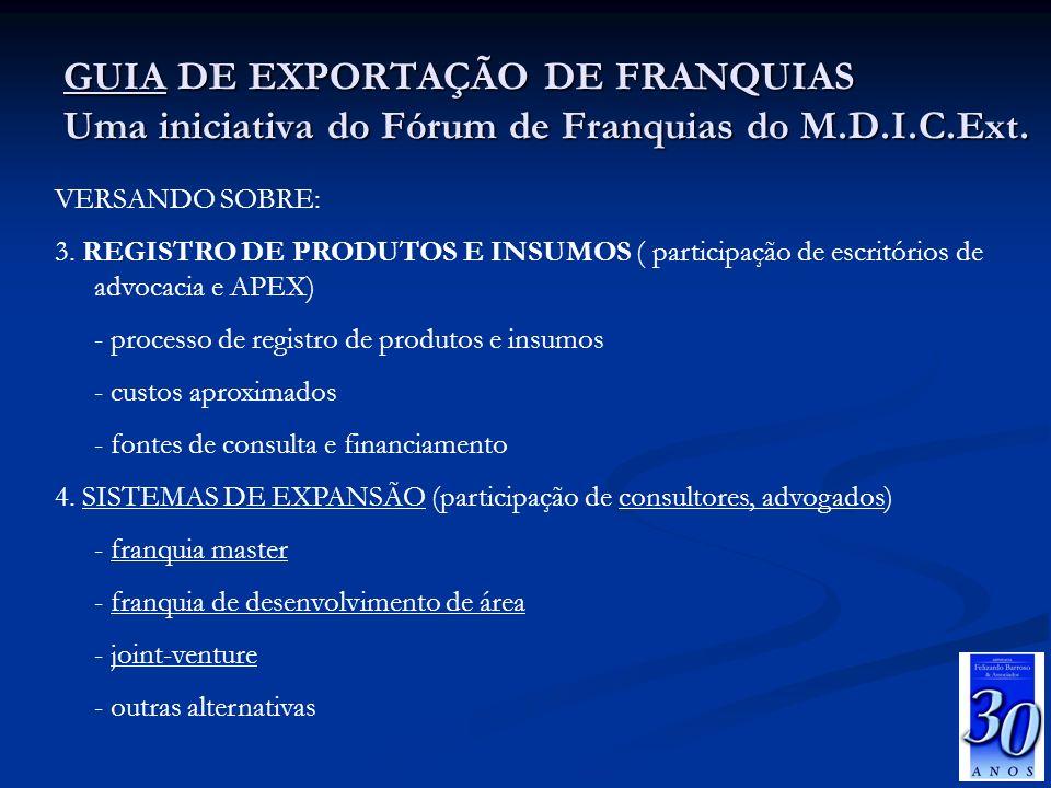 26/03/2017 GUIA DE EXPORTAÇÃO DE FRANQUIAS Uma iniciativa do Fórum de Franquias do M.D.I.C.Ext. VERSANDO SOBRE: