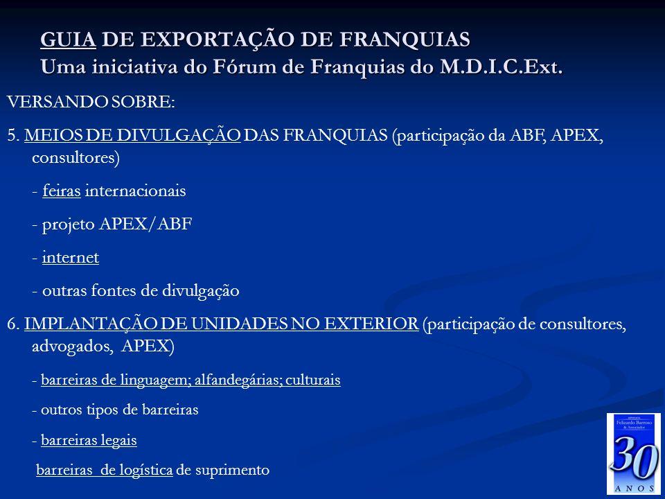GUIA DE EXPORTAÇÃO DE FRANQUIAS Uma iniciativa do Fórum de Franquias do M.D.I.C.Ext.