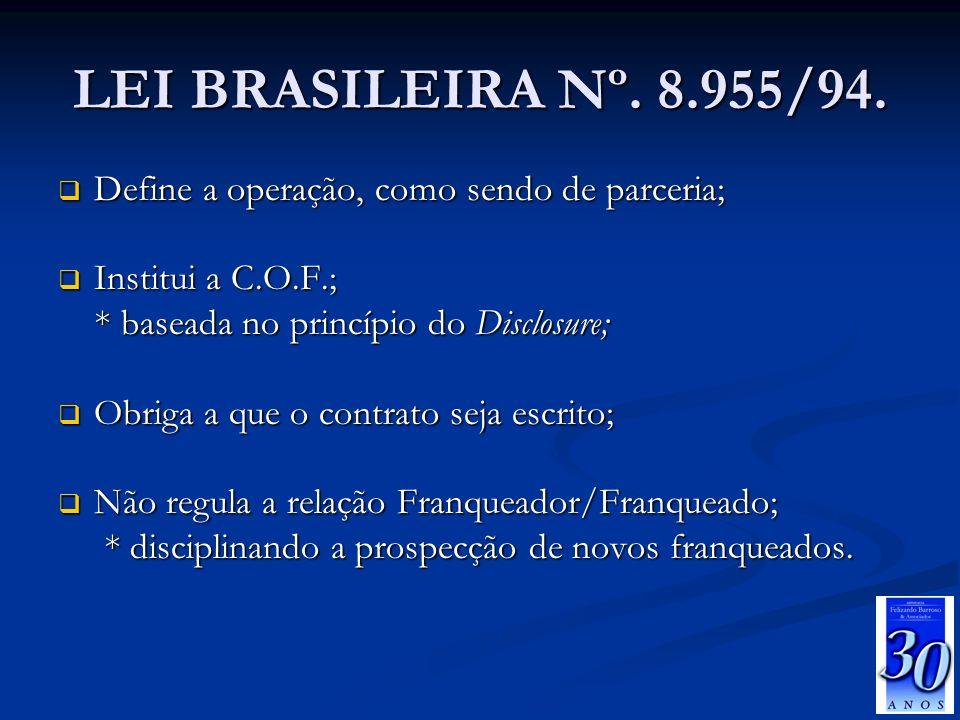 LEI BRASILEIRA Nº. 8.955/94. Define a operação, como sendo de parceria; Institui a C.O.F.; * baseada no princípio do Disclosure;