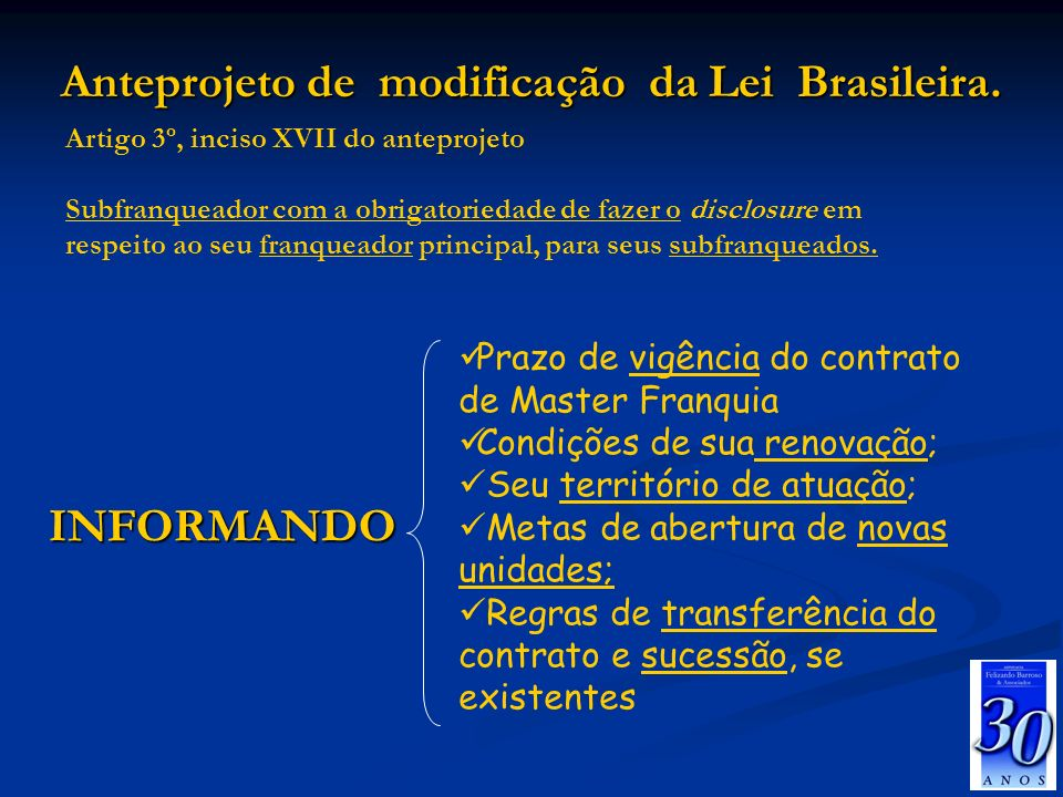 Anteprojeto de modificação da Lei Brasileira.