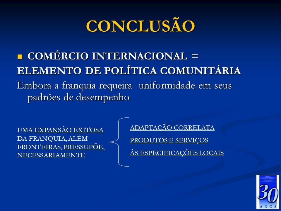 CONCLUSÃO COMÉRCIO INTERNACIONAL = ELEMENTO DE POLÍTICA COMUNITÁRIA