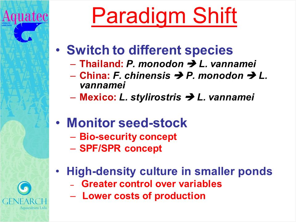 Paradigm Shift Switch to different species Monitor seed-stock