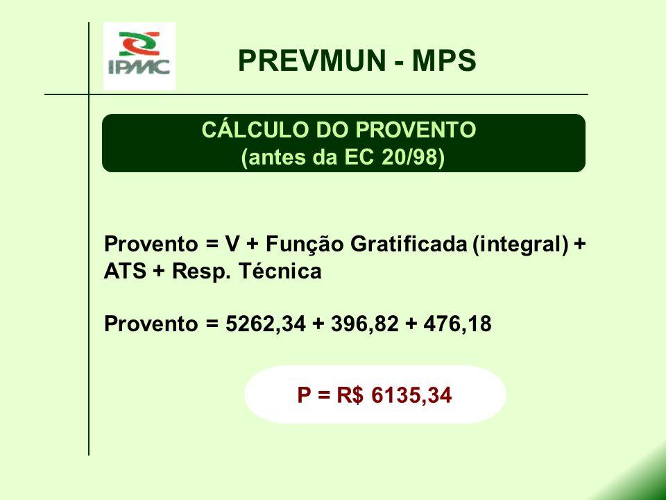 PREVMUN - MPS CÁLCULO DO PROVENTO (antes da EC 20/98)