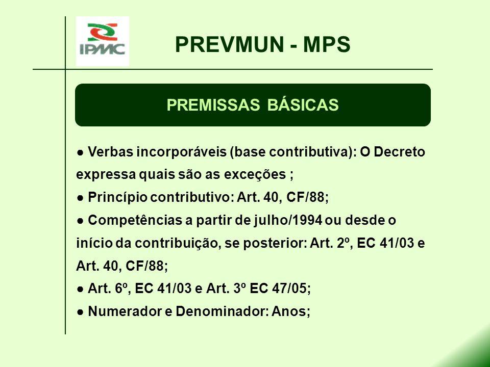 PREVMUN - MPS PREMISSAS BÁSICAS