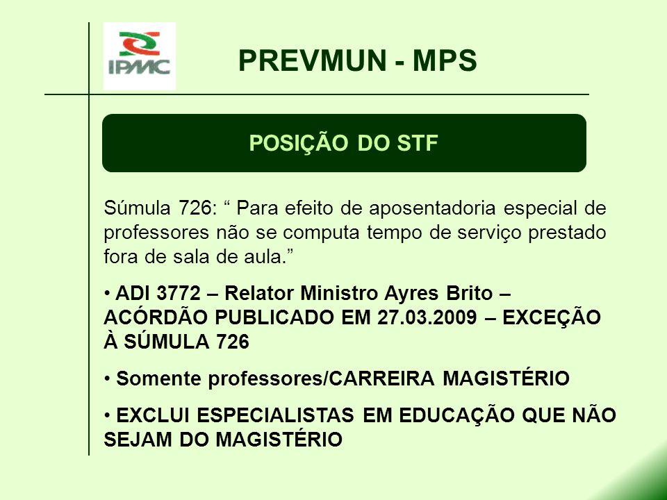 PREVMUN - MPS POSIÇÃO DO STF