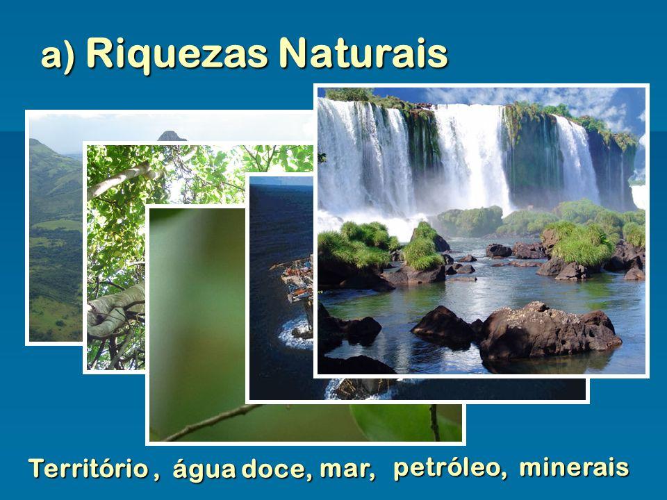 a) Riquezas Naturais Território , água doce, mar, petróleo, minerais