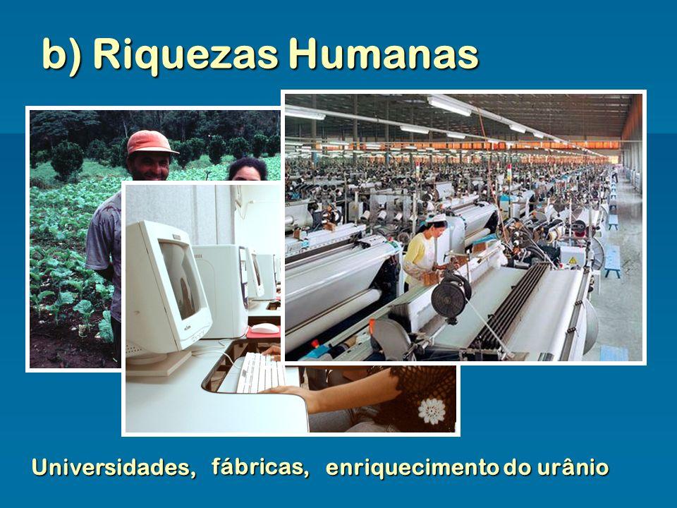 b) Riquezas Humanas Universidades, fábricas, enriquecimento do urânio