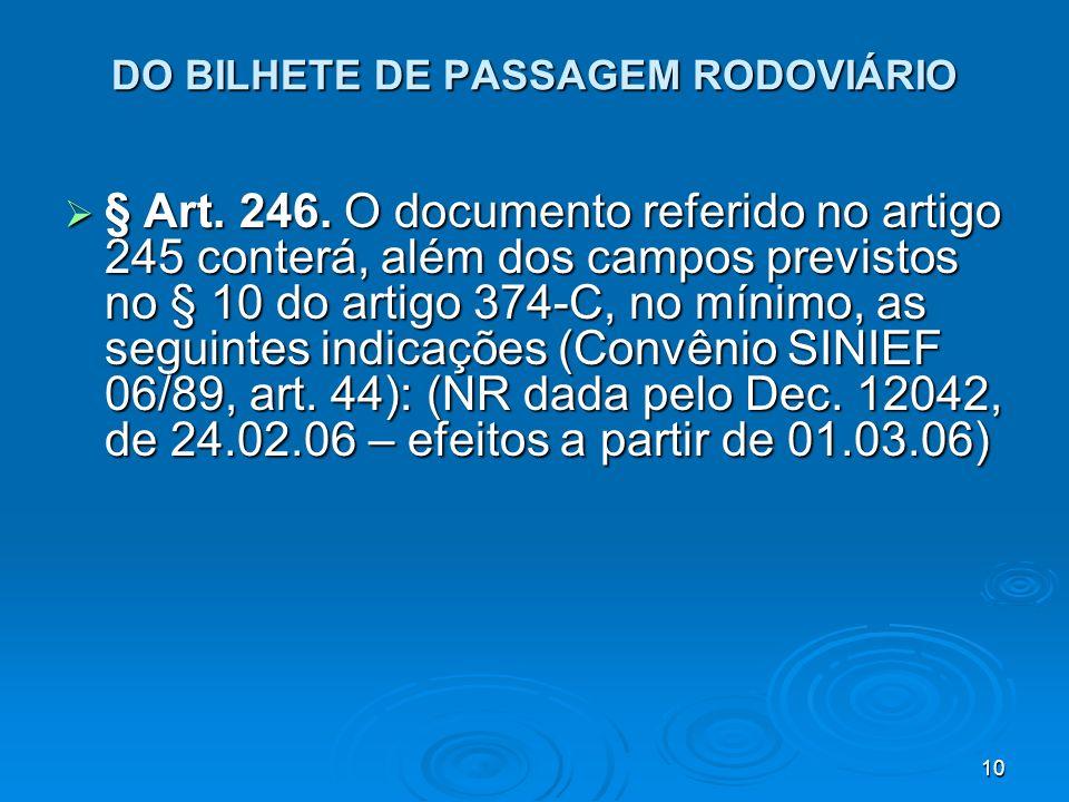 DO BILHETE DE PASSAGEM RODOVIÁRIO